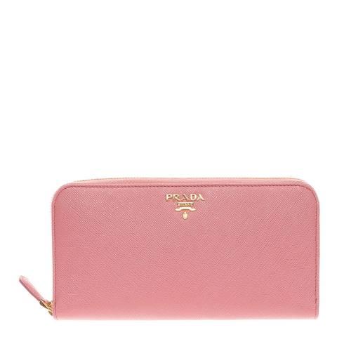 Prada Soft Pink Saffiano Shine Zip Around Wallet In Calf Leather
