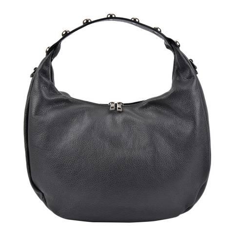 Roberta M Black Leather Hobo Bag