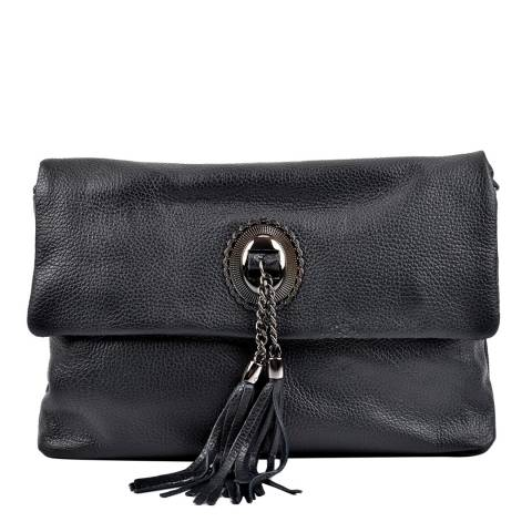 Roberta M Black Leather Crossbody Bag