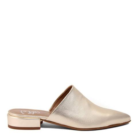 Gusto Metallic Gold Leather Slip On Flats