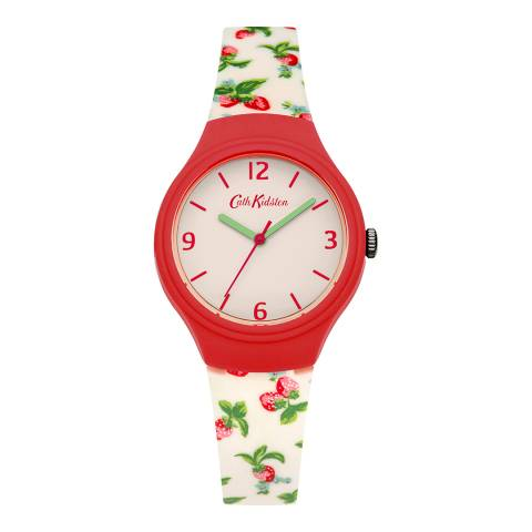 Cath Kidston Red/Cream Print Strawberries Silicone Strap Watch