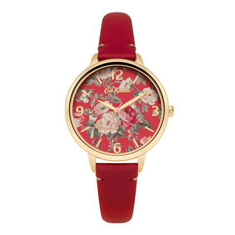 Cath Kidston Red Garden Rose Leather Strap Watch