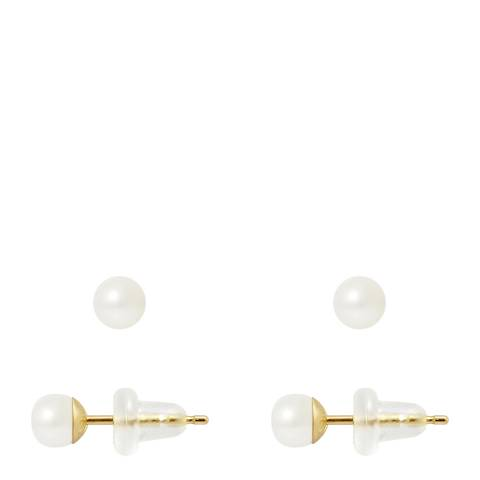 Manufacture Royale Yellow Gold Earrings with Natural Freshwater Pearls 4-5 mm