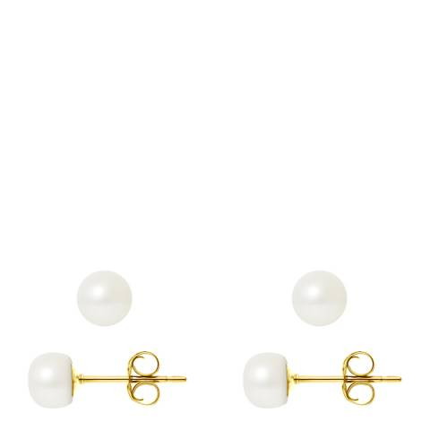 Manufacture Royale Yellow Gold Earrings with Natural Freshwater Pearl  6-7 mm