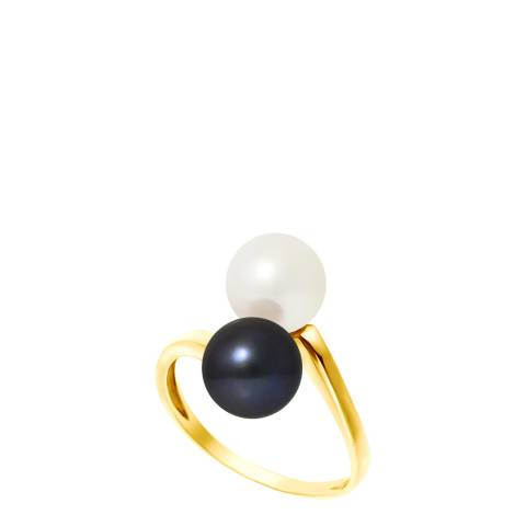 Manufacture Royale Yellow Gold Ring with 2 Natural/Black Freshwater Pearls 7-8 mm
