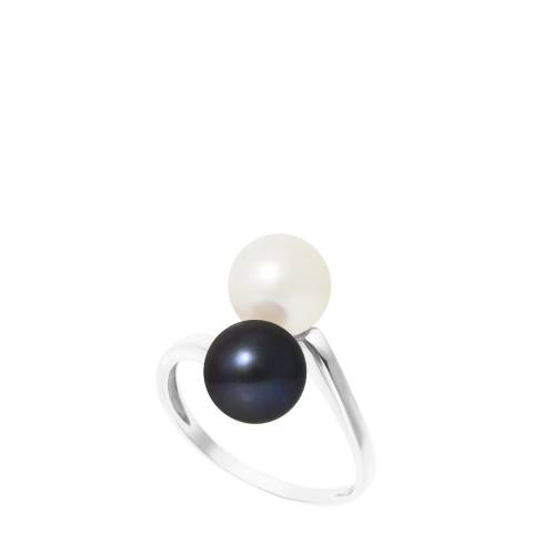 Manufacture Royale White Gold Ring with 2 Natural/Black Freshwater Pearls 7-8 mm