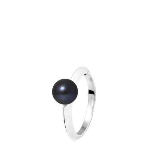 Manufacture Royale White Gold Ring with Black Freshwater Pearl 7-8 mm