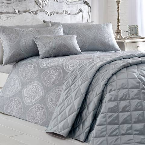 Portfolio Anise Super King Duvet Cover Set, Silver