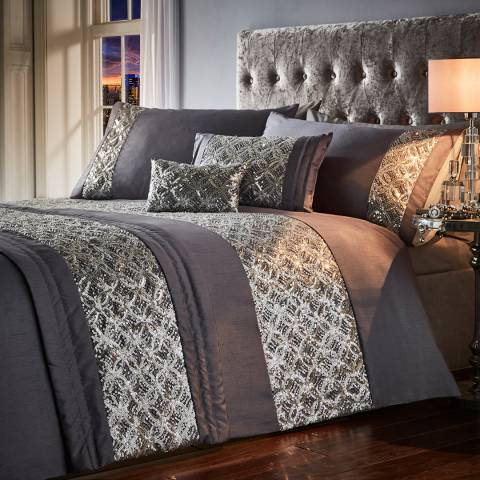 Portfolio Jocasta Super King Duvet Cover Set, Slate