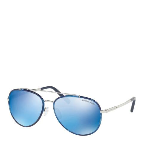 Michael Kors Women's Silver / Grey with Blue Mirror Effect Sunglasses 59mm
