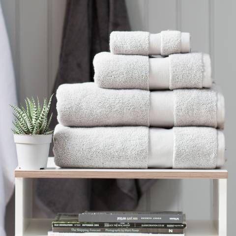 The Lyndon Company High-Loft Cotton Pair of Hand Towels, Silver