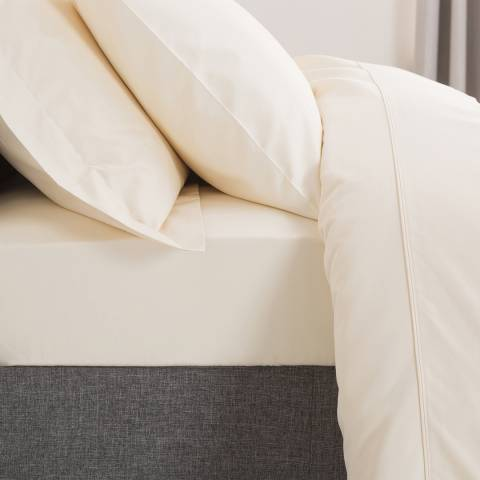 The Lyndon Company 800TC Double Fitted Sheet, Cream