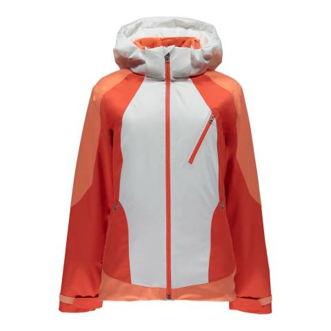 Spyder Women's White and Coral Amp Jacket
