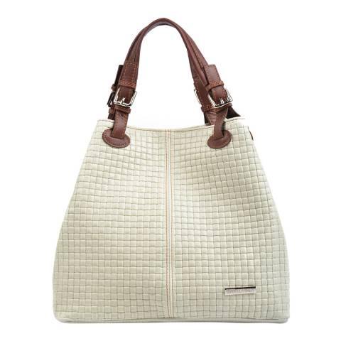 Isabella Rhea Cream Leather Shopper Bag