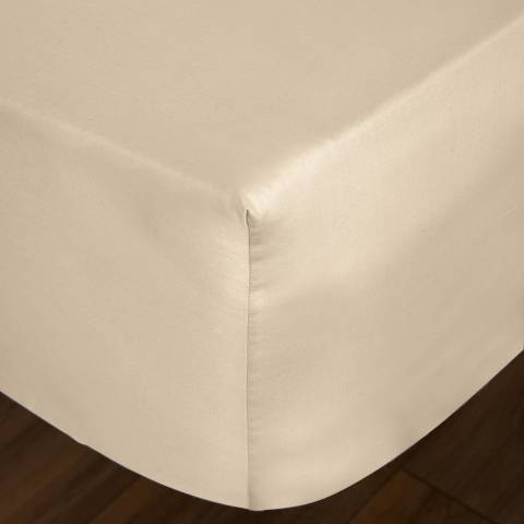 IJP Luxury 600TC Double Fitted Sheet, Cream