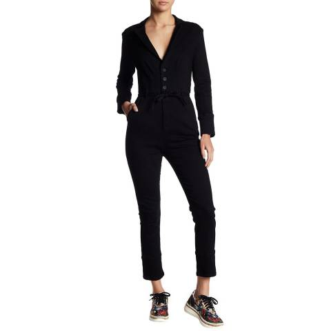 Free People Black Jean Take Me Out Cotton Blend Jumpsuit