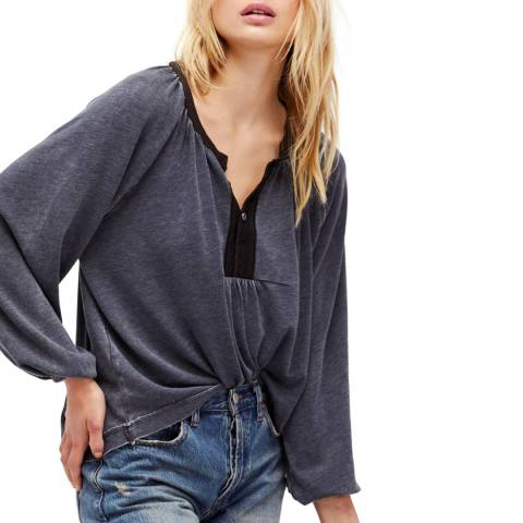 Free People Black Acadia Henley Cotton Blend Top