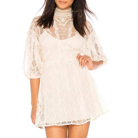 Free People Neutral Bittersweet Lace Mini Dress