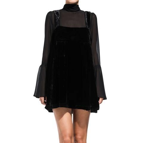 Free People Black Counting Stars Velvet Mini Dress