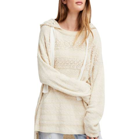 Free People White Ivory Candy Crochet Hoodie