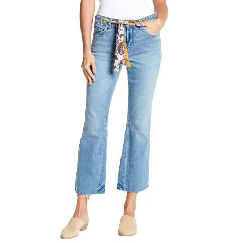 Free People Blue Belt Boot Cut Cotton Stretch Jeans