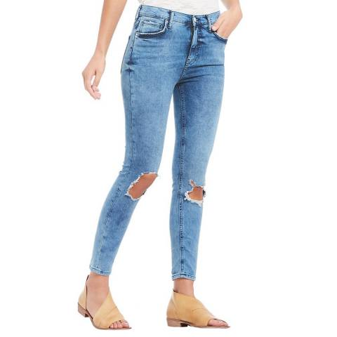 Free People Turquoise Busted Cotton Stretch Skinny Jeans