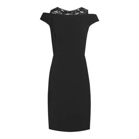 Reiss Black Lace Panel Merin Dress