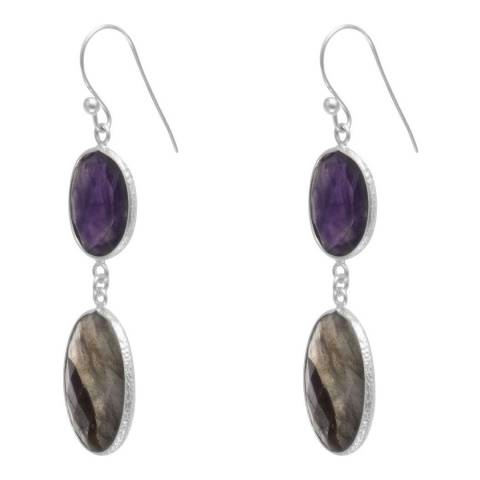 Alexa by Liv Oliver Amethyst and Labradorite Drop Earrings