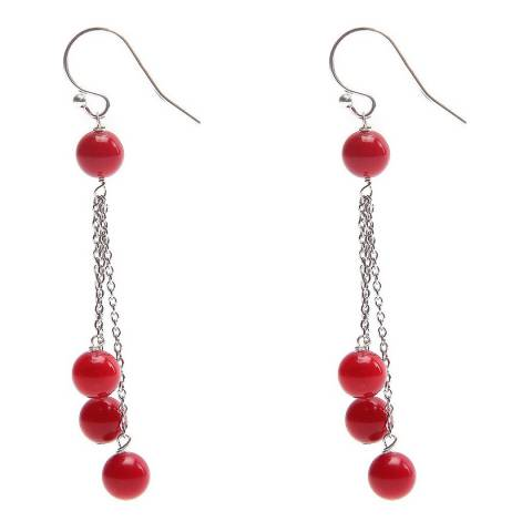Alexa by Liv Oliver Red/Silver Coral Tassle Earrings