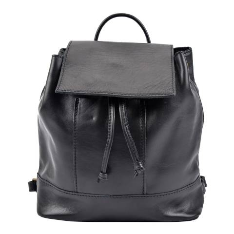 Roberta M Black Leather Backpack