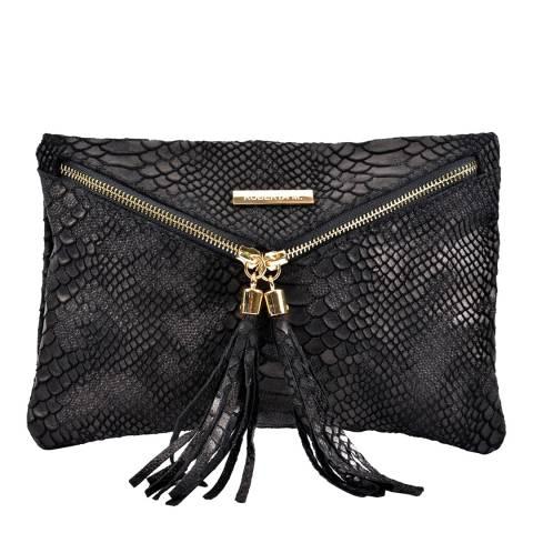 Roberta M Black Leather Clutch Bag