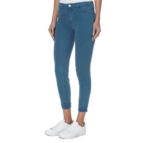 J Brand Peacock Teal Anja Cuffed Crop Skinny Jeans