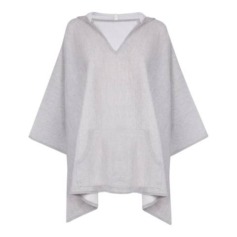 Belinda Robertson Pale Grey/White Adele Merino Wool Hooded Cape