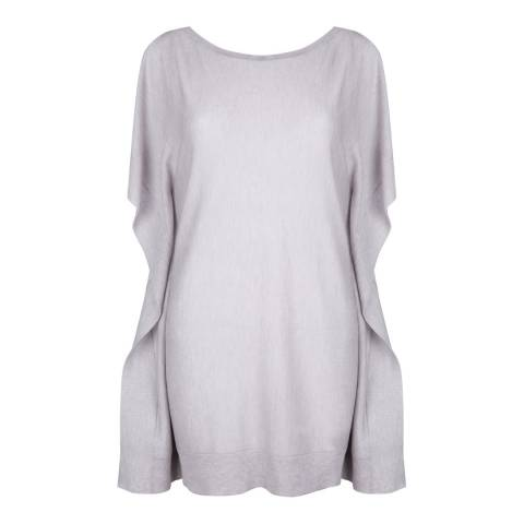 Belinda Robertson Foggy Grey Erica Open Shoulder Silk/Cashmere Jumper