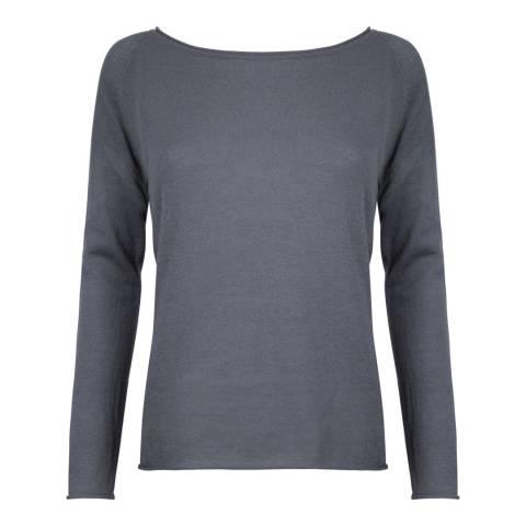 Belinda Robertson Cement Grey Megan Wide Neck Wool/Cashmere Top