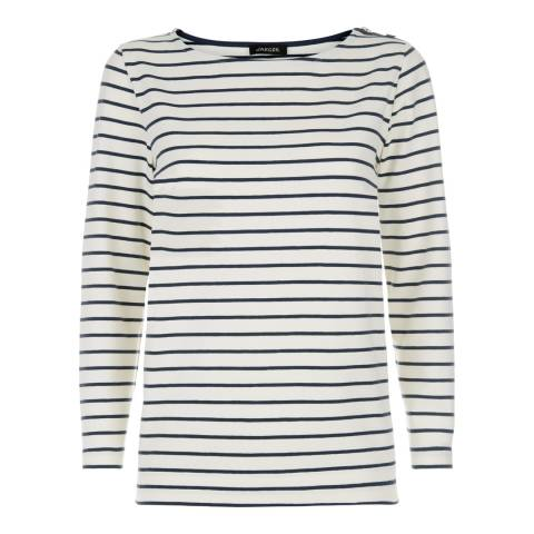 Jaeger Ivory/Navy Breton Stripe Top