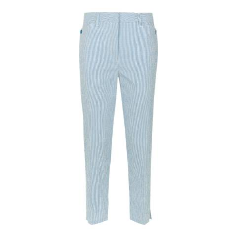 Jaeger Cobalt/White Striped Stretch Trouser
