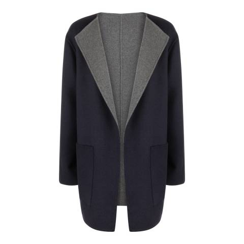 Jaeger Navy/Grey Double Faced Duster Coat