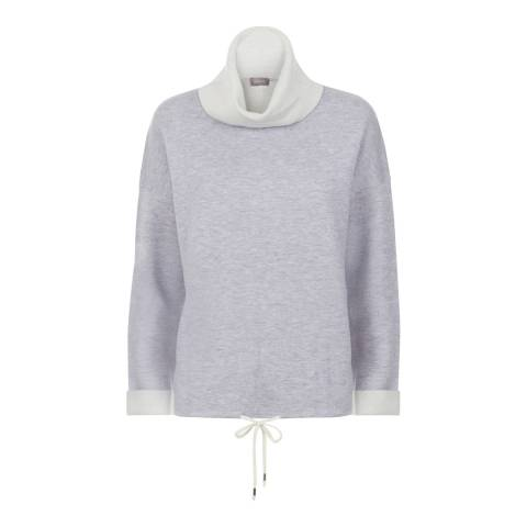 Jaeger Grey/Ivory Double Faced Roll Neck Jumper