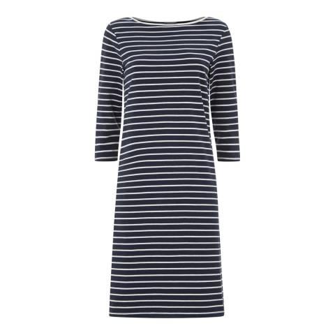 Jaeger Navy/Cream Breton Stripe Jersey Dress