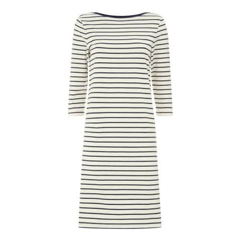 Jaeger Ivory Breton Stripe Jersey Dress