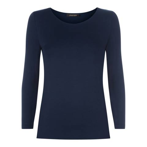 Jaeger Navy Stretch Jersey Top