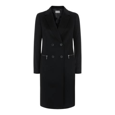 Jaeger Black Zip Pocket Wool Coat