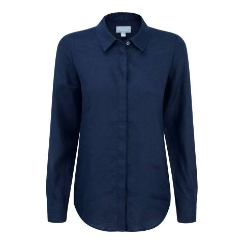 Pure Collection French Navy Laundered Linen Shirt