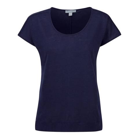 Pure Collection Navy Luxury Linen Relaxed T-Shirt