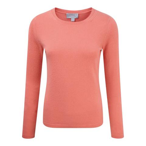 Pure Collection Spring Coral Cashmere Crew Neck Jumper