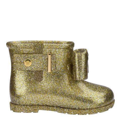 Melissa Gold Mini Glitter Sugar Rain Booties