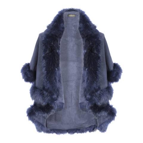 JayLey Collection Navy Luxury Faux Fur Cape Coat