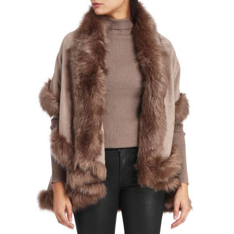 JayLey Collection Tan Luxury Faux Fur Cape Coat