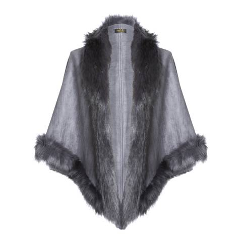 JayLey Collection Charcoal Faux Fur Luxury Short Gilet